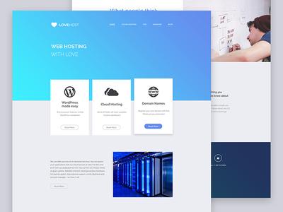 Lovehost web design homepage landing hosting header gradient