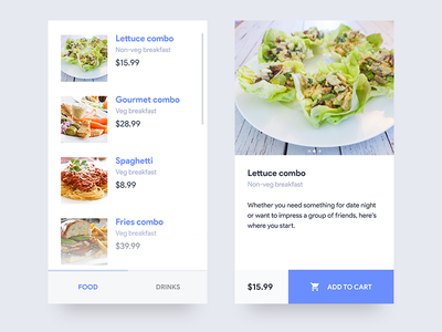 Food order ecommerce price ux ui menu app restaurant cart drinks food shop