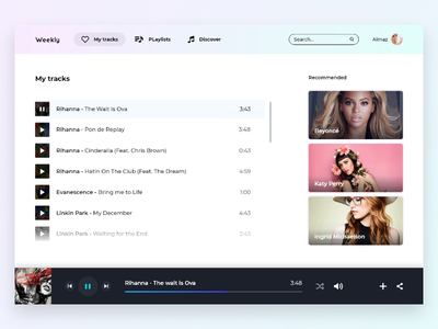 Weekly UI - 4 music player spa web app shadow gradient music player