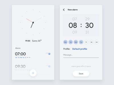Weekly UI - 5 minimalism flat shadow waker time clock alarm alarm clock