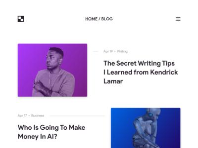 Weekly UI - 6 minimalism news typography gradient thumbnail post journal magazine blog dailyui
