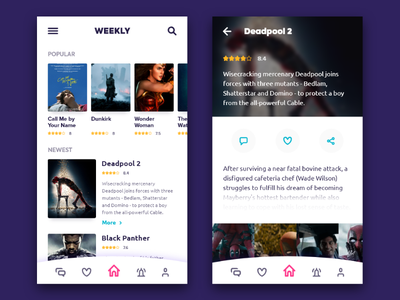 Weekly UI - 7 rating user ux shadows movies movie mobile
