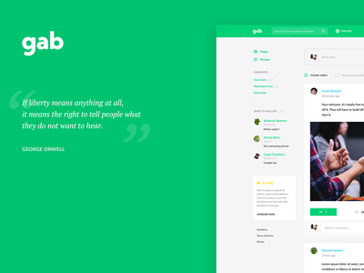 Gab.com redesign concept web design ux profile feed post facebook social social network