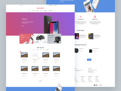 Bouncer Ecommerce Adobe XD UI Kit ui kit shop free xd template freebies freebie ecommerce