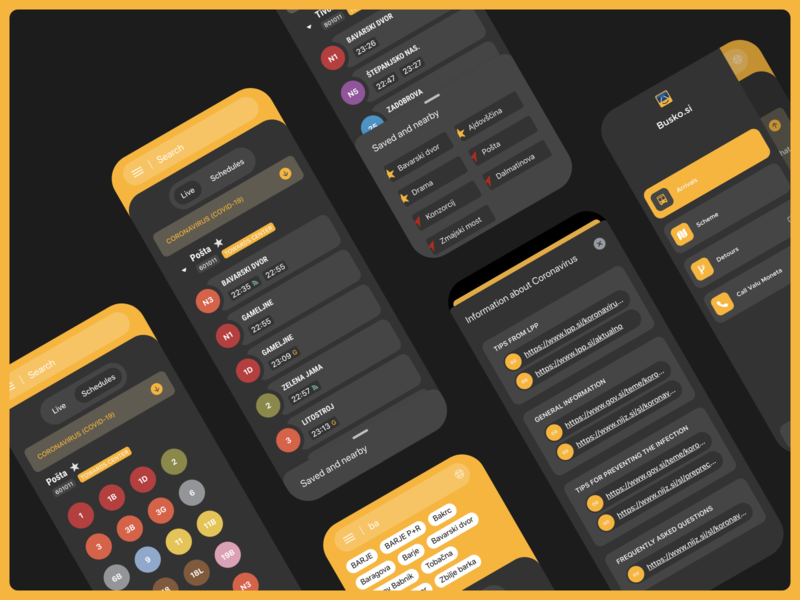 App dark mode bus busko dark theme timetable arrivals schedules transport public ui dailyui dark app dark ui dark mode dark