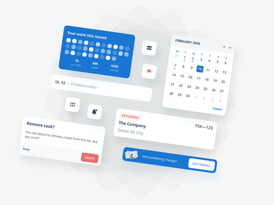 UI elements for an upcoming project app buttons todo task button modal buzz calendar components web element elements ui design