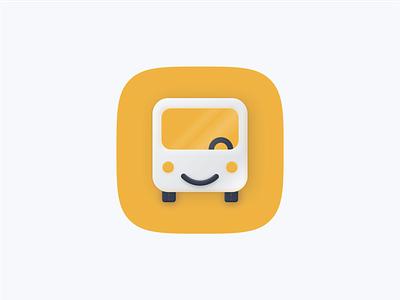 Bus app icon web ios branding illustration logo design skeuomorphism skeumorphism skeuomorphic skeuomorph big sur icon app bus