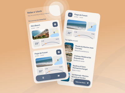 Beach trips concept minimal ux ui design illustration app design app