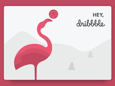 Hello, Dribbble! debut dribbble hello mountains flamingo
