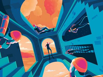 Trossachs Traveller parallax explore adventure blue surrealist escher design landscape vector animation art