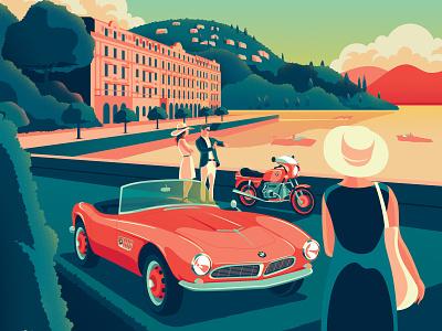BMW Group Classic travel holiday advertizing hero illustration lake como italy classic retro motorbike cars luxury