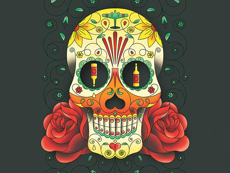 Sugar Skull día de los muertos day of the dead festival mexico illustration