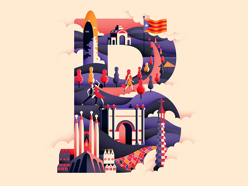 Wanderlust Alphabet design sagrada familia travel illustrated type typeface illustration