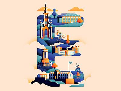 Wanderlust Alphabet – E castle edinburgh design scotts monument travel illustrated type typeface illustration