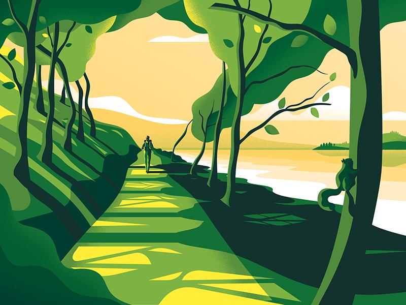 West Highland Way – label Illustration squirrel landscape scotland nature walker beer packaging texture vector art