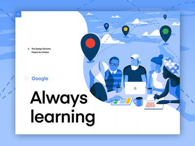Google | The Design Genome Project typography report design grid education user interface blue product illustrations ui product illustration design genome