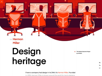 Herman Miller | Design Genome chair product illustration ui illustrations product design orange user interface education grid design typography vector