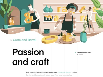 Crate and Barrel | The Design Genome Project natural product homeware ui illustrations product crate and barrel user interface education grid design typography vector