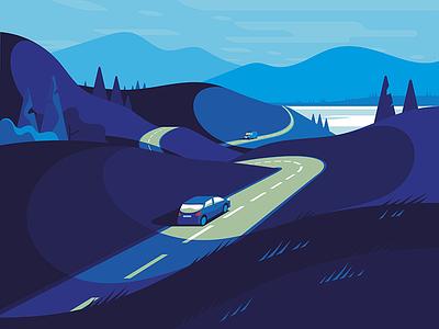 Electric A9 travel vector electric car design branding user interface landscape illustrations ui product illustration green