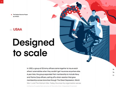 USAA | The Design Genome Project vector typography design grid education user interface blue product illustrations ui product illustration red