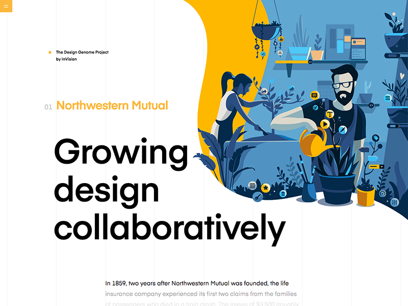 Northwestern Mutual | The Design Genome Project design system growth garden user iterface product illustration product yellow ui education grid illustration typography vector