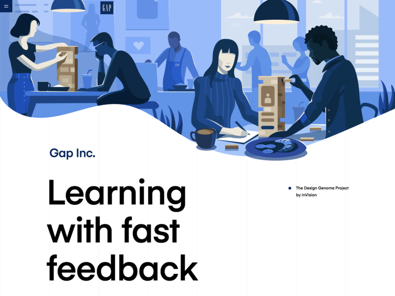 Gap Inc.   The Design Genome Project socialized design blue testing ui  ux education resource vector art vector prototyping conceptual illustration product illustration