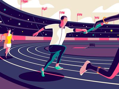 Enterprise Design Sprints education design better purple collaboration invision product illustration stadium track vector illustration hero sprint design