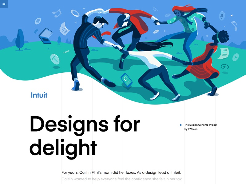 Intuit | The Design Genome Project design blue green vector artwork delight connected music dance conceptual illustration header illustration hero illustration product illustration