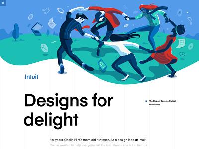 Intuit | The Design Genome Project design blue green vector artwork delight connected music dance conceptual illustration header illustration hero illustration product illustration
