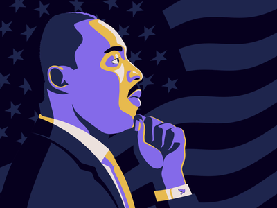 Martin Luther King Jr Day peace inclusivity justice shadow yellow dream flag purple animation martin luther king mlkd portrait