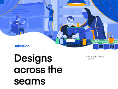 Atlassian | The Design Genome Project icons vector thread sewing design education collaboaration blue product illustration illustration