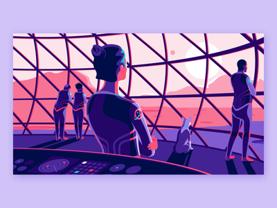 The New Design Frontier purple colonize design product mars space explore hero illustration product illustration parralax