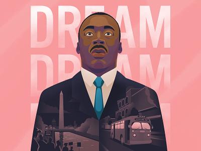 MLK Day 2020 montgomery bus boycott montgomery bus boycott washington march bravery equality equal rights activist hero portrait illustration