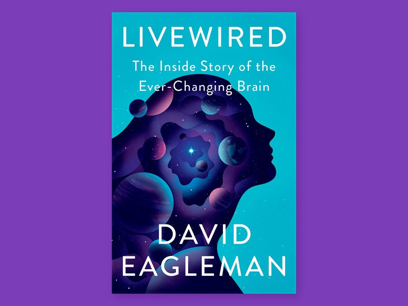 Livewired Cover purple silhouette profile nebula mind brain psychology space book cover illustration