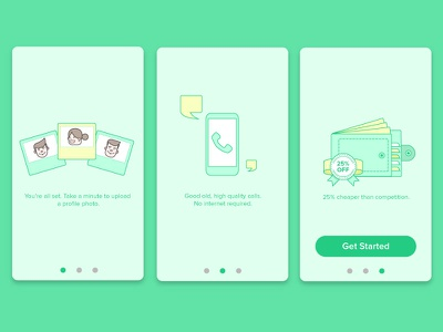 Onboarding  mobile ios ui money wallet character picture call minimal screens onboarding illustration