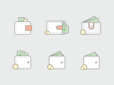 Wallet Iterations vector currency coin wallet icon minimal iteration grofers ui illustration