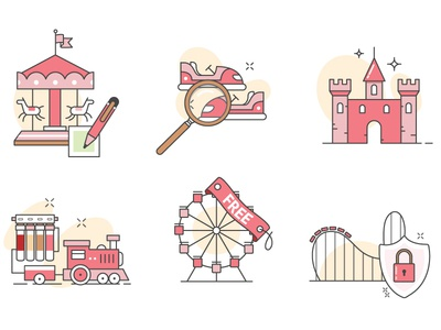 Iconography park project fintech train quirky ride web minimal iconography icon illustration ui