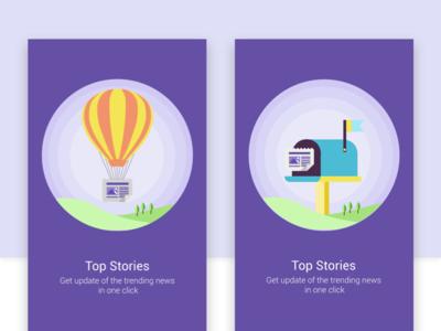 Onboarding flow (exploring) - News App story mailbox mail cash wallet gift minimal ux ui news onboarding illustration