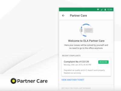 Ola Partner Care mobile onboarding home partner ux icon cabs minimal vector illustration ui