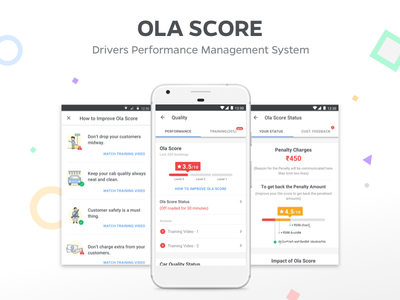 Ola Score - Drivers Performance Management System tool performance design cabs driver table illustration olacabs minimal ux ui
