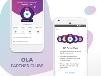 Ola Partner Clubs - Monitor, Motivate And Reward Partners service performance benefits mobile illustrations system olacabs minimal ux ui