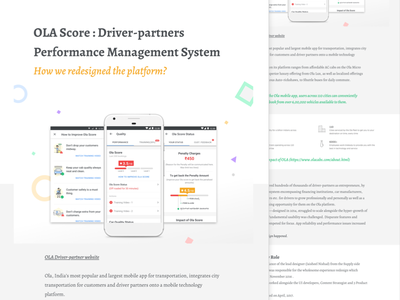 Ola Score - Portfolio Case Study icons ola web mobile typography minimal illustrations page portfolio ux ui