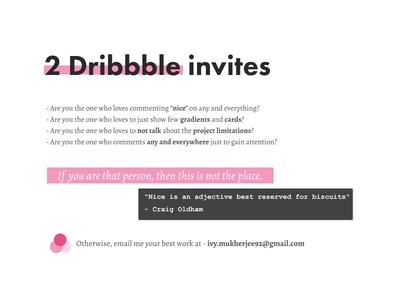 2 Dribbble Invites design player typography web ux ui content invite dribbble