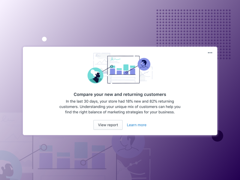 Home card - Customers Overtime Insights illustration analytics data shopify ux ui card