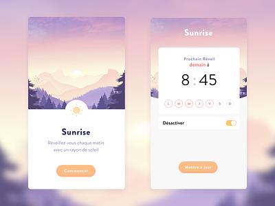 Sunrise Alarm Clock design french application app illustration ui ux