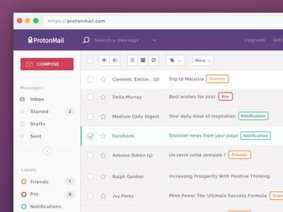 ProtonMail Theme application app ux ui protonmail proton mailbox mail email inbox