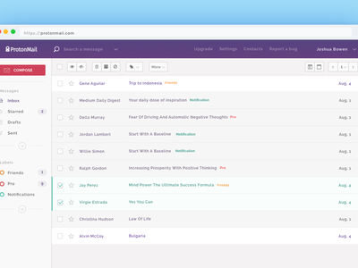 ProtonMail Theme flat protonmail proton app application email mailbox mail ux ui