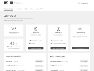 Dossiers scolaires french ux design application app ux admin dashboard admin