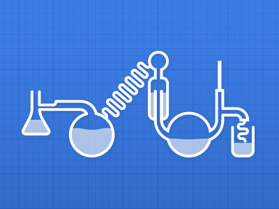 Science! lab equipment laboratory science flask condenser scientific process blue