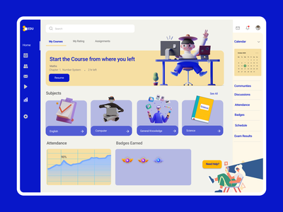 Online learning Dashboard for Children dashboard ui dashboad students course education minimal clean uxdesign landing page design uidesign ui ux design